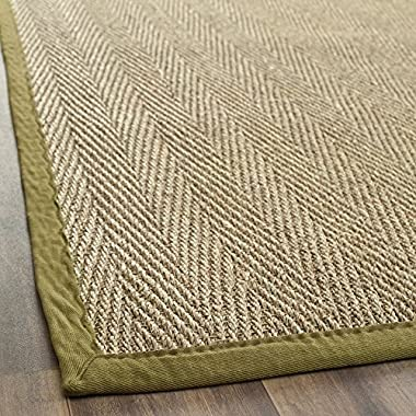 Safavieh Natural Fiber Collection NF115G Herringbone Natural and Olive Seagrass Runner (2'6  x 10')