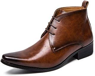 Chaussures pour Hommes Chaussures en Cuir pour Hommes Bottines Décontracté Couleur Pure Bout Pointu Style Britannique Botte