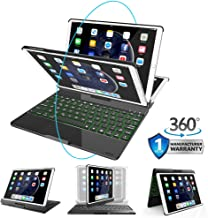 iPad Keyboard Case for iPad 9.7 inch 2018(6th Gen)/2017(5th Gen)/Air 1&2/Pro 9.7,Wireless/BT Ultra-Thin Backlit Keyboard Stand Cover with 360 Rotatable,Auto Wake/Sleep and Rechargeable, Black