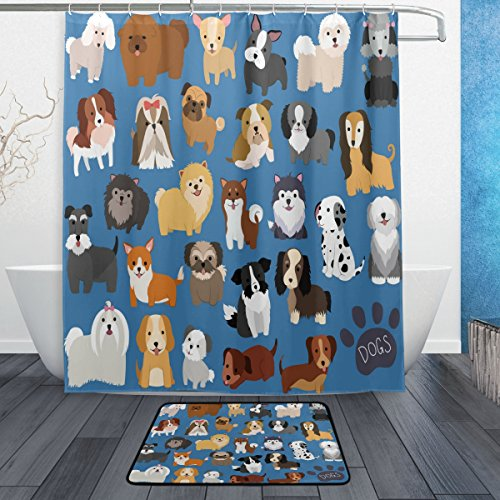 ALAZA Set of 2 Cute Animal Dog 60 X 72 Inches Shower Curtain and Mat Set, Lovely Puppy Dogs Waterproof Fabric Bathroom Curtain and Rug Set with Hooks