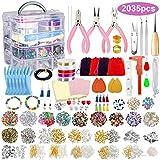 2035 piezas de lujo kit de suministros para hacer joyas con abalorios, dijes, fornituras, alicates de joyería, alambre de abalorios para hacer y reparar collar, pulsera, pendientes