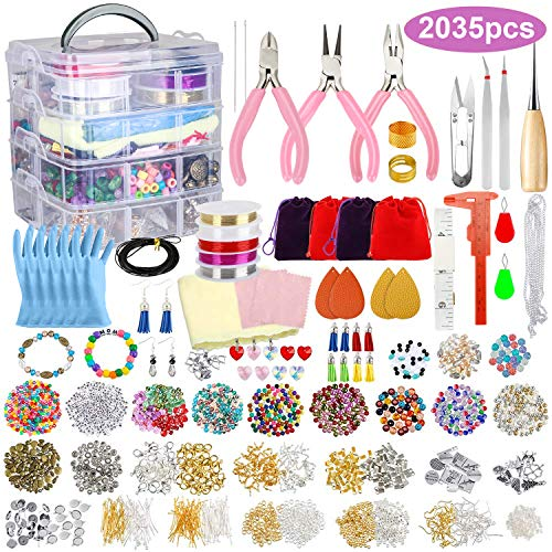 2035Pcs Deluxe Jewelry Making Supplies Kit with Jewelry Beads, Charms, Findings, Jewelry Pliers, Beading Wire for Necklace Bracelet Earrings Making and Repairing, Holiday Gift for Girls and Adults