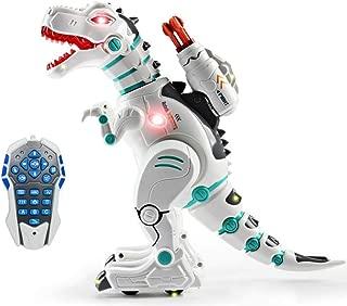 wodtoizi RC Robot Dinosaur Intelligent Remote Control Walking Dinosaur Toy Interactive Educational Dancing Singing Missiles Launching Water Mist Spraying Story Telling Learning Dino Robot T-Rex
