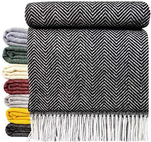 STTS International Wohndecke Wolldecke Decke sehr weiches Plaid Kuscheldecke 140 x 200 cm Wolle Milano/Verona (Anthrazit)