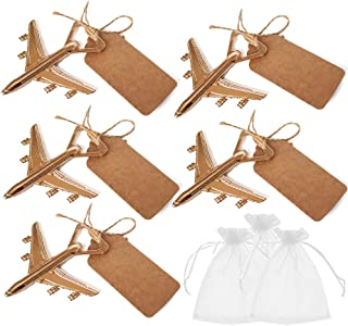 Amajoy Pack of 25 Airplane Bottle Opener with White Sheer Favor Bag Kraft Escort Card Wedding Favor Baby Shower Return Gifts Travel Theme Party Favor Let the Adventure Begin