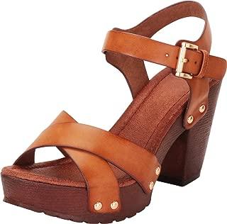 Women's Retro 70s Studded Clog Crisscross Strappy Chunky Platform Block Heel Sandal