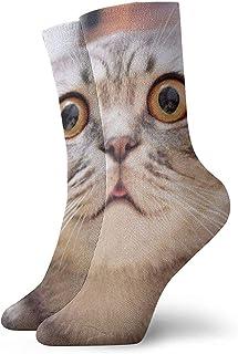 Tedtte, La locura asustó al gato y cerró los ojos con calcetines de ojos grandes Calcetines de cuello unisex Calcetines de vestir