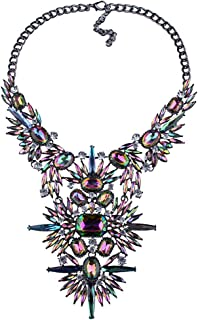 NABROJ Fashion Chunky Statement Necklace Crystal Bib Collar Choker Novelty Costume Jewelry for Women with Gift Box 2 Colors 1 Pc
