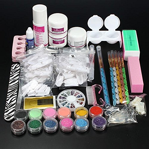 Pro Glitter Acryl Poeder Penseel Pincet Primer Nagel Art Tips Kit Set
