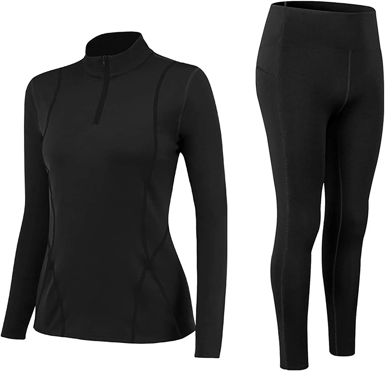 HUIHE Thermal Underwear for Women, Winter Base Layer Top & Bottom Set Long Johns with Fleece Lined