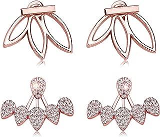 Fashion Hollow Lotus Flower Earrings Crystal Simple Chic Stud Earrings Set