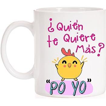 MardeTé Taza ¿Quién te Quiere más? Po Yo. Divertida Taza con la Frase del Pollo Famosa. Taza de Amor para Enamorados. Regalo Divertido