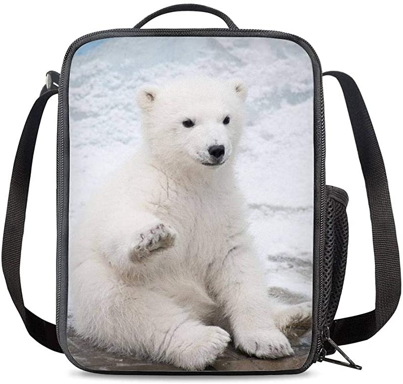 PrelerDIY Baby Polar Bear Lunch Box Food Bag Picnic Pouch Insulated Lunch Bag For Teenage Boys Girls School Beach