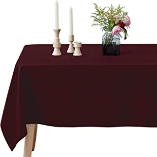 VEEYOO Rectangular Tablecloth 100% Polyester Oblong Table Cloth for Bridal Shower – Solid Soft Oval Table Cover for Wedding Party Restaurant Party Buffet Table (Burgundy, 60x102 inch)