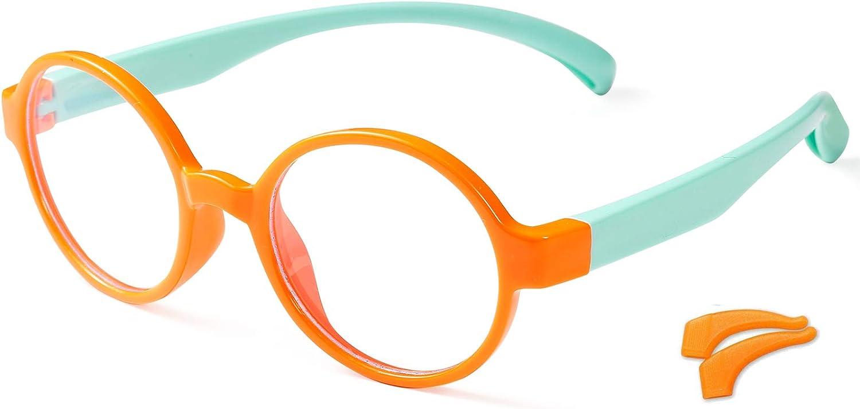 POMIDEA 2Pack Blue Light Glasses for Kids, Computer Video Gaming Eyeglasses for Boys and Girls Age 3-12 Anti Glare Blue Light Filter Glasses UV Protection(Orange)