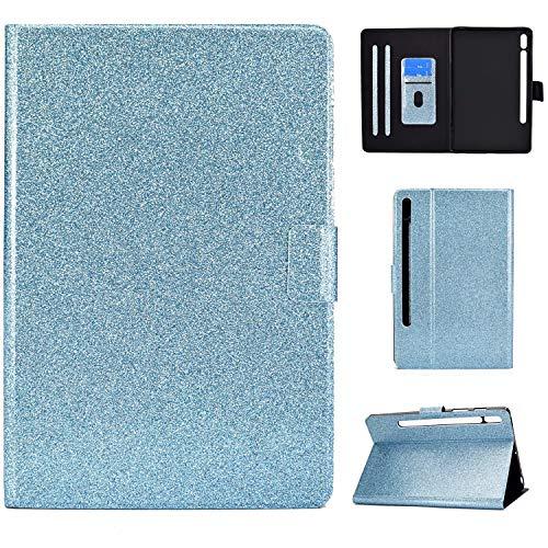 Nadoli PU Pelle Luccichio Custodia per Samsung Galaxy Tab S7 T870 {11'} 2020,Portafoglio Inteligente Magnetico Cover con Funzione di Supporto Auto Svegliati/Sonno,Blu