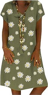 Winwinus Women's Loose V Neck Print Casual Linen&Cotton Mid Length Dress