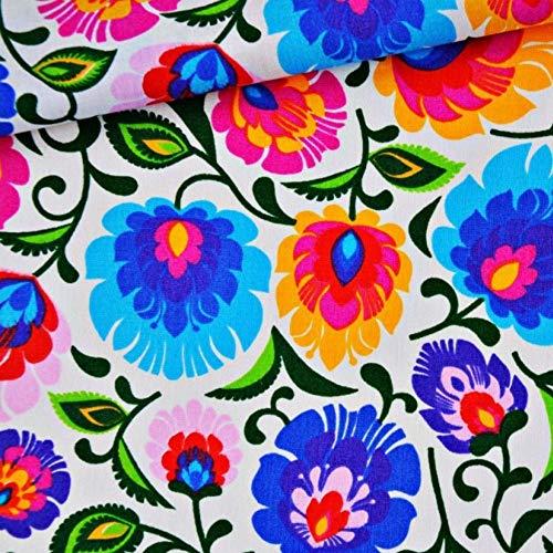 Blumen Bunt 100% Baumwolle Baumwollstoff Kinderstoff Meterware Handwerken Nähen Stoff Tiermotiv 100x160cm 1 Meter (Blumen Bunt)