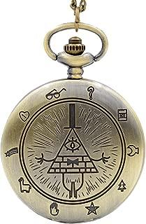 Vintage Bill Cipher Quartz Pocket Watch Analog Pendant Necklace Mens Womens Watches Chain Gift