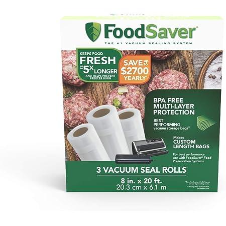 FoodSaver Rollo de plástico para sellar comida, capas múltiples, libre de BPA, 3 piezas