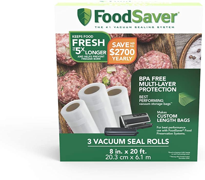 FoodSaver 8 X 20 Vacuum Seal Roll With BPA Free Multilayer Construction For Food Preservation 3 Pack