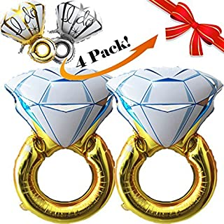 "4pcs, Giant 45"" Diamond Wedding Ring Balloons and 'I Do' Engagement Ring Balloons 
