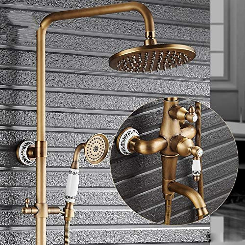 LWSFZAS Classic Bad Dusche Wasserhahn 8 Antik Messing Hhe In-Wand-Dusche Bad Dusche Komplettset einstellen