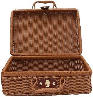 Rotin Vintage Valise tissé Panier de rangement boîte de rangement tissé en rotin et osier pique-nique paniers à linge Stoc...