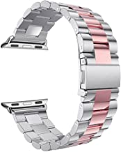 For iWatch Straps 42MM Silver/Pink, Rosa Schleife Apple Watch Straps 42mm Stainless Steel Metal Smart Watch Replacement Band Buckle Clasp Link Wristbands for Apple Watch Series 3/2/1 Sport, Edition