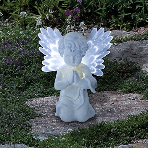 GardenKraft 12680 Solar Powered LED Angel Light | Cherub With Fibre Optic Wings | Warm White LED's | Weatherproof | Auto-On | 19cm x 9cm
