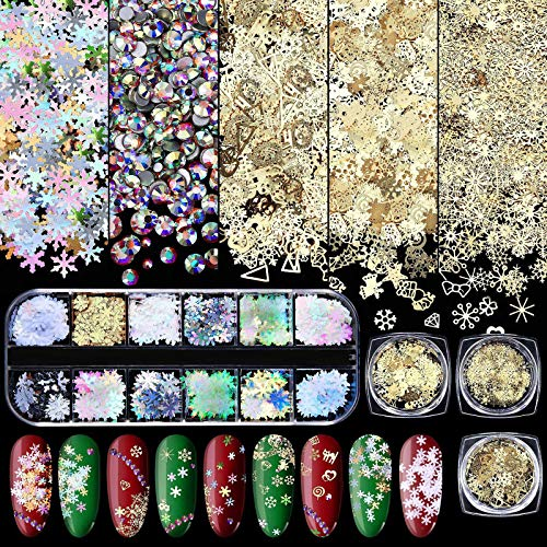 4 Boxes 3D Snowflake Nail Sequin Christmas Nail Art Stickers Nail Decals and Mixed 12 Styles of Flatback Crystals 3D Decorations Flat Back Stones for Nail Art Decoration DIY Christmas Nail Accessories