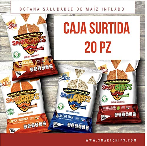 SMARTCHIPS CAJA SURTIDAS Chile Limón Ranchero y Sal de Mar y cheddar (PACK 20 unidades) Bolsas de 25gr saludable botana o Snack bajo en calorías sin gluten Non Gmo