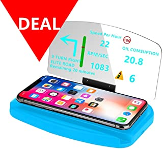 DECVO Head Up Display,Vehicle Car Dash HUD Phone GPS Navigation Support Image Reflector 3 in 1 (Fast Wireless Charger), Cellphone Holder Mount Reflective Film for Samsung Galaxy,iPhone ETC (Blue)