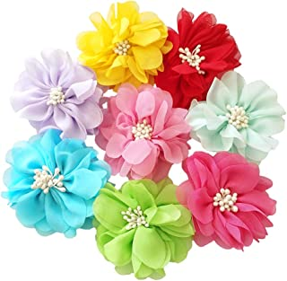 """JpGdn 8pcs 2.8"""" Small Medium Dogs Collar Bows Flowers for Doggy Cats Wedding Birthday Party Collars Decor Sliding Accessories"""
