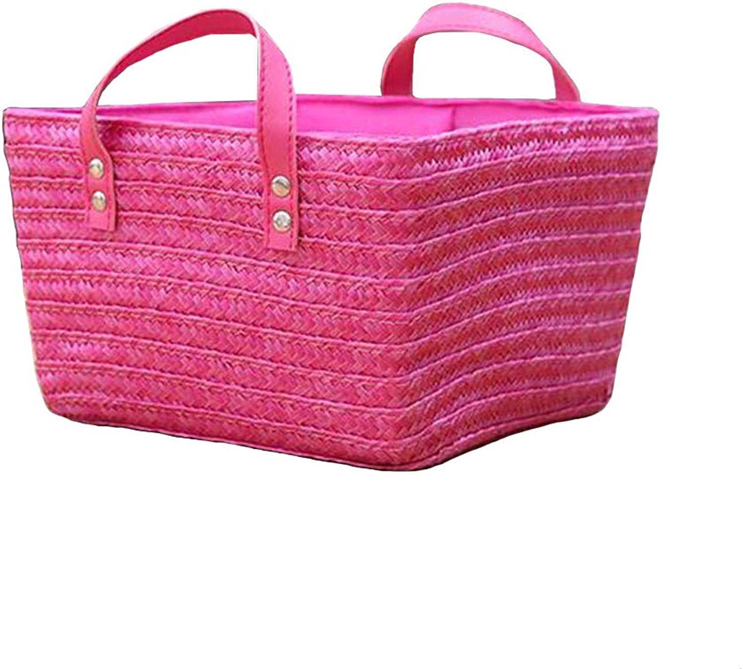 MUMA Storage Baskets Handle Easy Carrying Convenient Clothes Toys Container (color   Pink, Size   20x20x15cm)