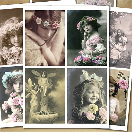 16 x Beautiful Vintage Victorian and Edwardian images,sticker- decoupage decal