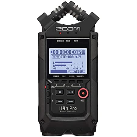 """Zoom H4n Pro 4-Track Portable Recorder, All Black, Stereo Microphones, 2 XLR/ ¼"""" Combo Inputs, Battery Powered, for Stereo/Multitrack Recording of Music, Audio for Video, and Podcasting"""