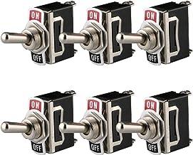 Gebildet 6 Piezas Conmutador de Palanca SPST AC125V 10A / AC250V 6A, Interruptor de Palanca ON/Off 2 Posiciones 2 Pin, Rocker Toggle Switch para Auto Vehiculo Barco (Negro)