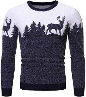 Men Fashion Pattern Print Long Sleeve Shaggy Round Neck Pullover Tops Sweaters