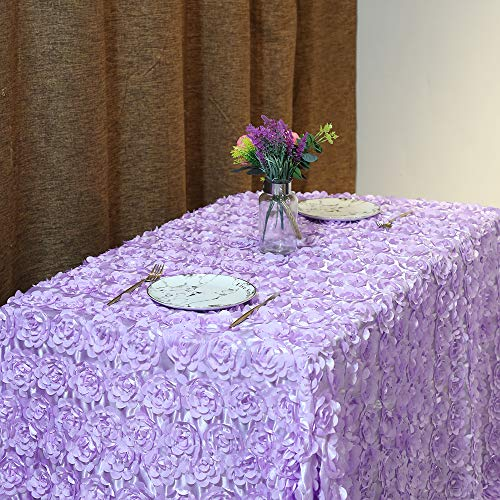 50x102 Inches Rosette Satin Tablecloth Lavender Rosette Tablecloth 3D Rosette Table Line Rectangle Table Cover Wedding Party Baby Shower Decor