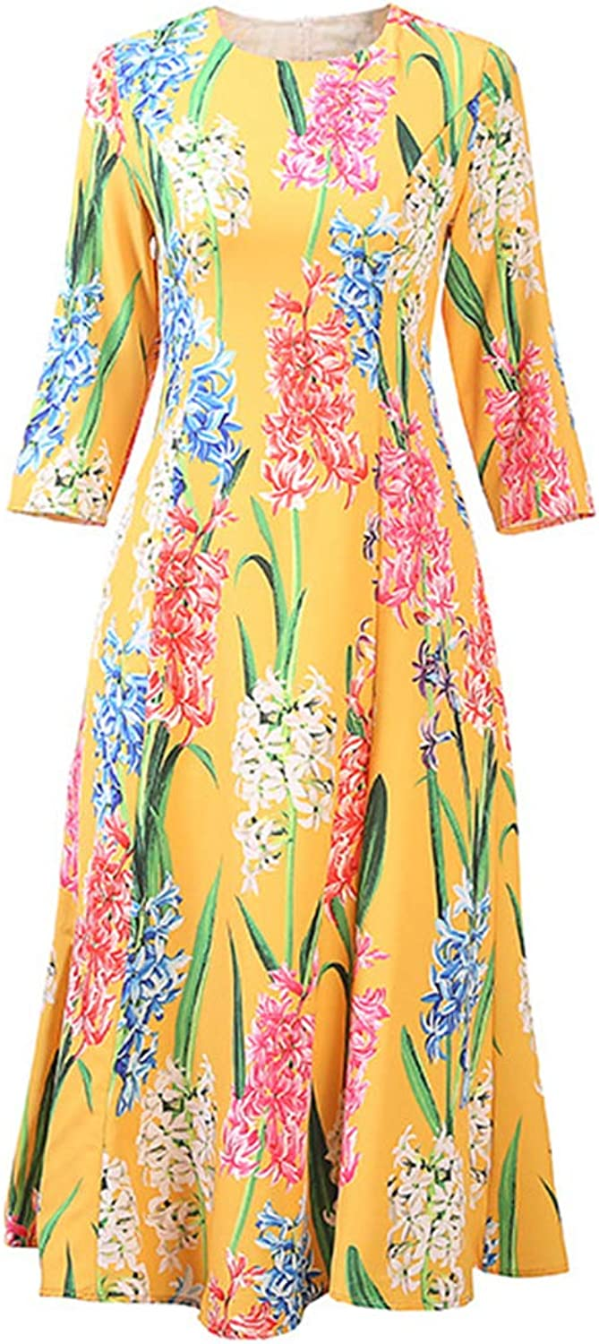 Women Floral Print O Neck Swing Pleated 3 4 Sleeve Flared Cocktail Dress