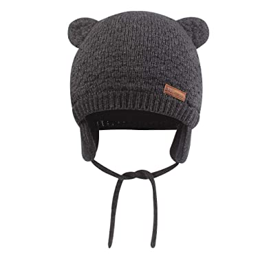 Baby Toddler Winter Beanie Warm Boys Girls Earflap Hat Infant Knit Caps Cute Bear Soft Cotton Lining for 0-36M