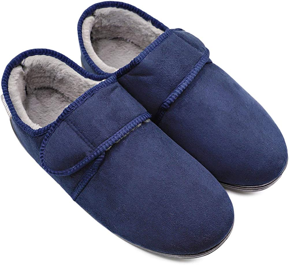 Men's 安全 Edema Slippers 通信販売 Winter Furry Memory Plush Comfy Warm Foam F