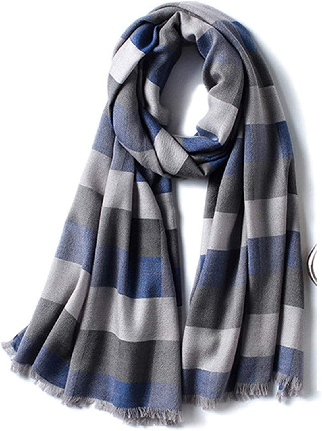HUIFANG Wool Scarf Winter Korean Plaid Shawl Wild Unisex Long Section Warm Student Collar Green bluee Brown 70  180CM A (color   bluee, Size   70  180CM)