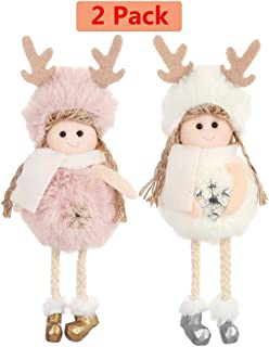 PGYFIS Christmas Decoration 2 Pieces Elk Angel Doll Pendant Tree Hanging Ornaments Christmas Crafts Elves Decorations Pink and White (Angel-Elk)
