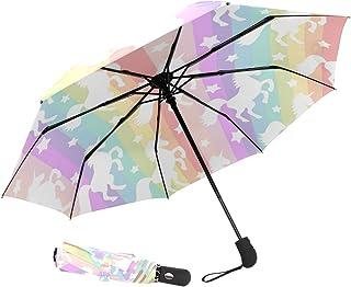 ZOEO Starry Night Travel Umbrella Van Gogh Oil Paint Totes Auto Open Close Umbrella Windproof Compact Folding Reverse Umbrella Portable for Kid Women