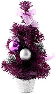 HHmei Mini Christmas Tree Ornament Desk Table Festival Xmas Party Decor Gifts 30cm Decorations Outdoor Tree Table Lights Blue Home Set Silver Wall Ornaments Party Banners Purple