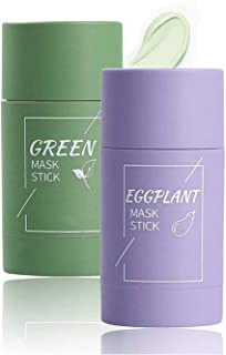 Green Mask Stick, Green Tea Cleansing Mask, Aubergine Acne Clearing Solid Mask, Deep Clean Pore, Verbetert de huid voor vr...