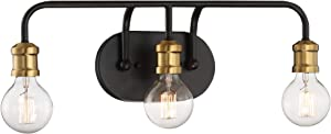 "Aras Modern Industrial Wall Light Black Brass Hardwired 20"" Wide 3-Light Fixture Non Glass for Bathroom Vanity Mirror - Possini Euro Design"