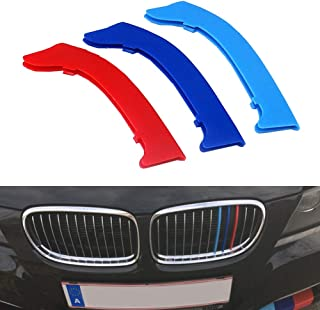 for 09-12 BMW 3 Series E90 E91 (12 Grilles one Side) 3D M Styling 3 Colors Front Grille Trim Motorsport Stripes Grill Cover Performance Stickers 3Pcs